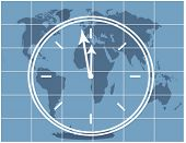 clock approaching midnight over map series