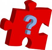 puzzle piece with question mark 3d