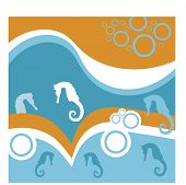 stock photo of heatwave  - tropical waves with sea horses - JPG