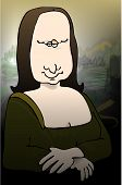 pic of mona lisa  - This illustration depicts a comical version of the Mona Lisa - JPG