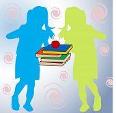 zwei junge Mädchen mit Schulbüchern zwischen Ihnen
