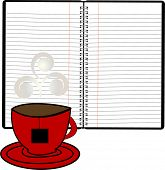 coil notebook with coffee cup