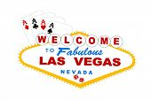 welcome to las vegas sign with cards and dice vector
