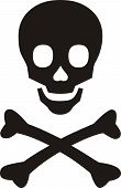 pic of skull cross bones  - Pirates symbol black skull with bones on white background - JPG