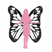 silhouette of woman with butterfly wings vector