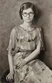 Young Girl with Round Glasses Antique Photograph