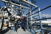 male and female engineer high up on pipelines inside oil industrial complex