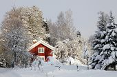 red cottage surrounded by snow and ice, typical winter scenery in smaland, sweden