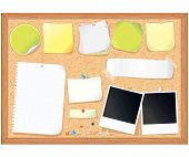 Cork message board with various paper notes and stickers - vector illustration , all elements separated
