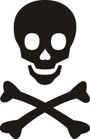 picture of skull cross bones  - Pirates symbol black skull with bones on white background - JPG