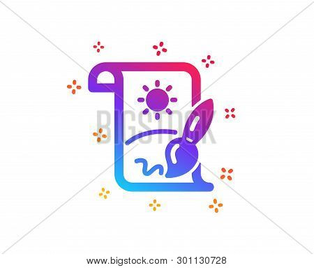 poster of Creative Painting Brush Icon. Creativity Sign. Graphic Art Symbol. Dynamic Shapes. Gradient Design C