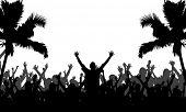 Party People con siluetas de árboles de Palma - formato de Vector de 10 EPS totalmente editables