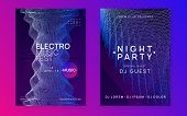 Trance Party. Wavy Discotheque Brochure Set. Dynamic Gradient Shape And Line. Neon Trance Party Flye poster