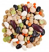Mixture of dry beans and peas, lentils, isolated on white background