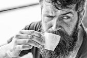 Coffee Break Concept. Guy Relaxing With Espresso Coffee. Enjoy Hot Drink. Hipster Drinking Coffee Ou poster