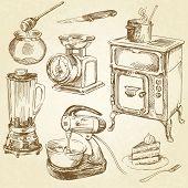 vintage kitchenware, cookware - hand drawn set