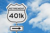 Retirement With 401k Plan Route On A Usa Highway Road Sign With Sky Background 3d Illustration poster