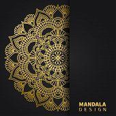 Golden Mandala Design. Ethnic Round Ornament. Hand Drawn Indian Motif. Unique Golden Floral Print. E poster