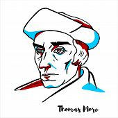 Thomas More Engraved Vector Portrait With Ink Contours. English Lawyer, Social Philosopher, Author,  poster