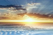Beautiful Heavenly Landscape With The Sun In The Clouds . Paradise Heaven .  Light About The Sky . A poster