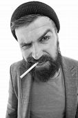 Brutal Unshaven Guy Smoking Isolated White Background. Brutal Habits And Lifestyle Of Tramp. Hipster poster