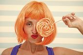 Crazy Girl Holding And Playing With Lollipop. Dieting Concept. Lollipop Dieting. Crazy Girl Love Swe poster