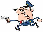 Polizisten mit einer Pistole