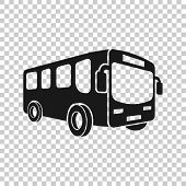 School Bus Icon In Transparent Style. Autobus Vector Illustration On Isolated Background. Coach Tran poster