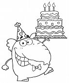 picture of ear candle  - Outlined Cute Elephant Walking With Birthday Cake With Three Candles - JPG