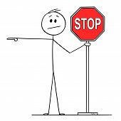 Cartoon Stick Figure Drawing Conceptual Illustration Of Man Or Businessman Holding Red Stop Sign And poster