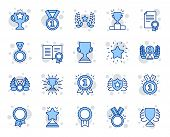 Award Line Icons. Set Of Winner Medal, Victory Cup And Laurel Wreath Award Icons. Reward, Certificat poster