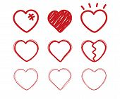 Heart Doodle. Sketch Drawing Love Hearts. Valentine Day Icons. Divorce, End Of The Relationship, Bro poster