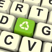 Recycle Icon Green Computer Key Showing Recycling And Eco Friend