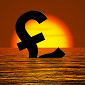 Pound symbol Sinking And Sunset Showing Depression Recession