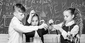 Biology Experiments With Microscope. Chemistry Science. Lab With Testing Tubes. Little Kids Scientis poster