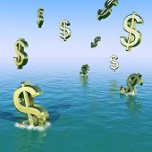 Dollars Falling In The Sea Showing Depression Recession And Econ
