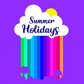 Happy Summer Days. Summer Holiday. Vector Elements For Greeting Card, Invitation, Poster, T-shirt De poster