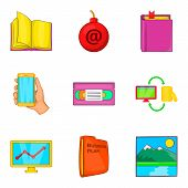 Archive Icons Set. Cartoon Set Of 9 Archive Icons For Web Isolated On White Background poster