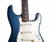 stock photo of stratocaster  - Real vintage metallic blue guitar with aged exterior - JPG