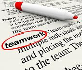 picture of glossary  - A dictionary page with the word teamwork circled to give meaning to the concept of working as a team to achieve a common goal - JPG