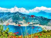 Digital Painting. Watercolor Drawing. Mountain Landscape, Himalayas, Tibet. Watercolor Landscape Wit poster
