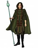 pic of clip-art staff  - Female magic user with a glowing staff dressed in a green hooded travelling cloak - JPG