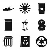 Caring For Environment Icons Set. Simple Set Of 9 Caring For Environment Icons For Web Isolated On W poster
