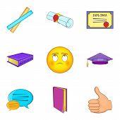 Academic Degree Icons Set. Cartoon Set Of 9 Academic Degree Icons For Web Isolated On White Backgrou poster