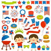 4th Of July Clip Art Set With Various Items And Two Kids poster