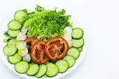 Plate With Sliced Vegetables: Cucumbers, Tomatoes, Radishes, Peking Cabbage, Dill, Green Onions, Par poster