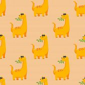 Cute Kids Dinosaurs Pattern For Girls And Boys. A Bright Dinosaur Eating A Branch With Leaves. The I poster