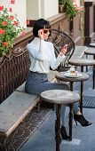 Leisure Concept. Girl Fashionable Lady With Smartphone. Pleasant Time And Leisure. Relax And Coffee  poster