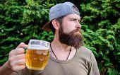 Drinking Culture. Hipster Holding Beer Mug. Bearded Hipster Drinking Beer On Summer Nature. Hipster  poster