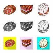 Vector Illustration Of Confectionery And Culinary Logo. Set Of Confectionery And Product Stock Symbo poster